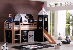 Relita - Halbhohes Spielbett Alex mit Rutsche/Turm/Tunnel Buche massiv natur lackiert mit Stoffset Pirat