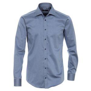 Größe 39 Venti Hemd Dunkelblau Uni Twill Langarm Slim Fit Tailliert Kentkragen 100% Baumwolle Popeline Bügelfrei