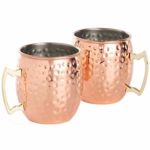 Kabalo Kupfer Moskau-Maultier-Becher. Ein Satz von 2 Cocktail-Fass-Stil Krug Tasse Küche Bar
