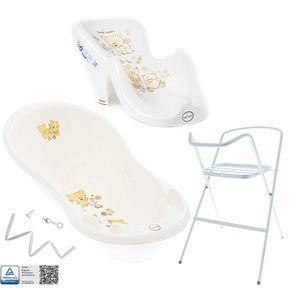Tega Baby ® Baby Badewanne mit Gestell und Verschiedene Sets mit Babybadewannen + Ständer + Abfluss + Badewannensitz 0-12 Monate, Motiv:Bärchen - weiß, Set:4 Set Weiß