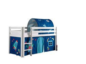 """Vipack Spielbett Pino, Liegefläche 90x200 cm mit Textilset Vorhang und Tunnel """"Astro"""""""