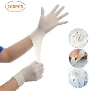 100 Stück Medizinische Handschuhe, Latex Schutzhandschuhe, Einweghandschuhe, Hygiene Schutz, puderfrei unsteril, wasserdicht, Links und rechts passend, Milchweiß, Groß M, CE & SGS  mit hohe Medizinische Qualität