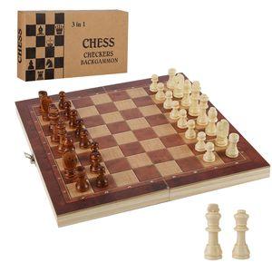 karpal Schachspiel Schach Spielbrett 3 in1 Neu aus Olivenholz 29*29CM Backgammonspiel
