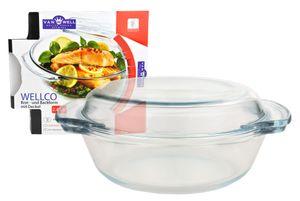 Kochschüssel mit Deckel Wellco 2,4 Liter rund 23,5cm - Glas-Schüssel 1.800 ml + Deckel 600 ml