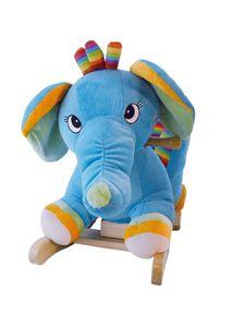 Bieco Plüsch Schaukeltier Elefant   Kinder Schaukelstuhl mit Sicherheitsgurt   Baby Schaukel   Schaukel Kleinkind   Schaukeltier Baby Zimmer   Baby Schaukelwippe ab 9 Monate   Schaukelpferd Holz