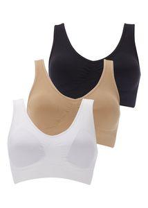 3 Pack Boolavard (TM) - der ultimative Komfort BH. Nahtlose Unterstützung Komfort Sport Streckungsaktion Freizeit schwarz weiß (XXL)