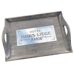 Nostalgisches Holz Tablett 'Hotel PARIS-LIÈGE'  - 47 x 33 x 8 cm - Serviertablett - Servierplatte