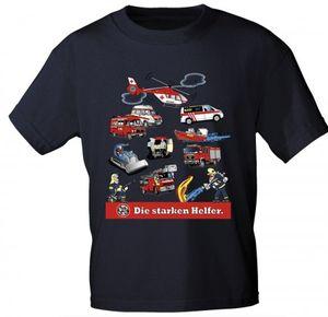 Kinder T-Shirt mit Print - Feuerwehr - DIE STARKEN HELFER - 08711 dunkelblau - Gr. 86-164 Größe -