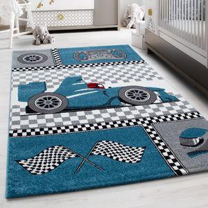 Teppich Kinderteppich Kurzflor Pflegeleicht Rennwagen Kinderzimmer Blau , Farbe:BLAU,80 cm x 150 cm