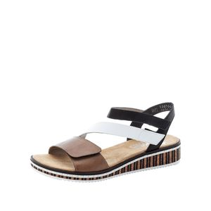 Rieker Sandalette  Größe 40, Farbe: leinen/weiss/schwarz
