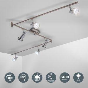LED Decken-Leuchte Deckenlampe Deckenstrahler Deckenspot 6-flammig Spotleuchte inkl. 3W GU10 Leuchtmittel Chrom B.K.Licht