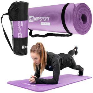 Hop-Sport Gymnastikmatte 1cm  - rutschfeste Yogamatte für Fitness Pilates & Gymnastik mit Transporttasche - Maße 183cm Länge 61cm Breite - lila