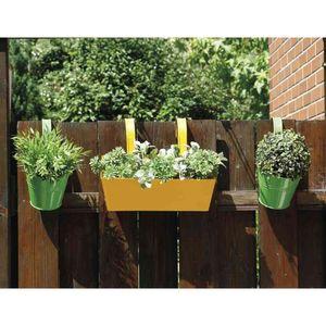 Siena Garden Blumentopf mit Halter, Zinkblech, grün (2er Pack)