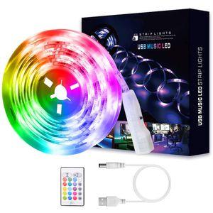 5M USB Musik Sprachsteuerung LED Streifen RGB Led Farbwechsel Lichtband Lichtleiste