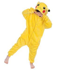 Kinder Jumpsuits Kostüm Tier Onesie Nachthemd Schlafanzug Kapuzenpullover Nachtwäsche Cosplay Fastnachtskostuem Weihnachten Halloween (Pikachu 140cm)