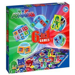 Ravensburger PJ Masks – 6-in-1 Spielset für Kinder und Familien ab 3 Jahren – Enthält 6 Klassische Spiele: Bingo, Erinnerung, Domino, Schlangen und Leitern, Checker und Spielkarten