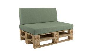 POKAR Palettenkissen mit abnehmbarem Bezug Palettensofa, Größe:Set Sitzkissen 120x80 + Rückenkissen 120x40, Farbe:Grün