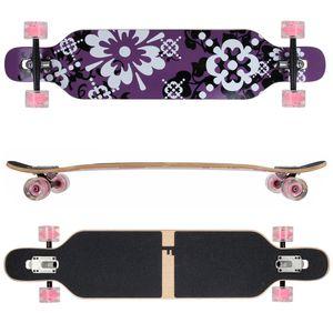 Design Lila Blume LED Ahornholz (Flex 1) FunTomia® Longboard - 2283-0721