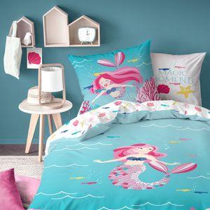 Bettwäsche Meerjungfrau 80x80 + 135x200 cm · Kinder-Bettwäsche für Mädchen in Biber - 100% Baumwolle