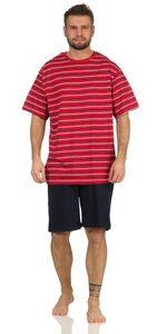 Herren Shorty Schlafanzug kurz, Farbe:Rot-Dunkelblau gestreift, Gr. :XXL