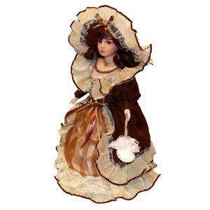 40cm Vintage Porzellanpuppe Sammlerpuppe Weibliche Puppe Figur mit Hut, Kleid und Ständer