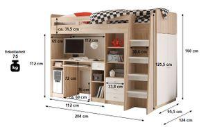 Hochbett Enri 90*200 cm Eiche/Weiß mit Frehtürenschrank und Schreibtisch Regal Kinderzimmer Spielbett Kinderbett