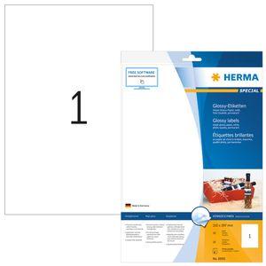 Inkjet-Etiketten A4 weiß 210x297 mm Papier glänzend 10 St.