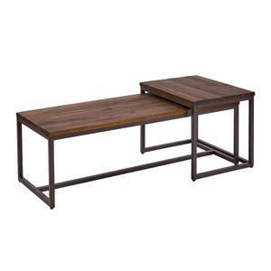 Industrial 2er Set Couchtisch ELEMENTS 110cm Massivholz Beistelltisch Wohnzimmertisch Sofatisch Satztisch