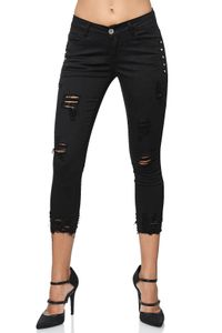 Damen Denim Skinny Capri Jeans Shorts Cropped Ankle Hosen Destroyed Risse Strass Design 7/8 Pants, Farben:Schwarz, Größe:46