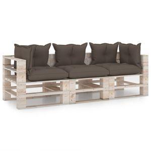 vidaXL Garten-Palettensofa 3-Sitzer mit Kissen Kiefernholz