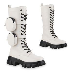 Mytrendshoe Damen Plateaustiefel Leicht Gefütterte Stiefel Schnürer Schuhe 835828, Farbe: Creme, Größe: 39