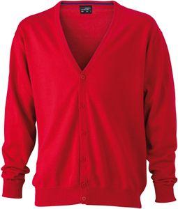 Jacke JN661 Herrencardigan Strickjacke Herren Cardigan V-Neck , Farbe:RED, Herrengrößen:L