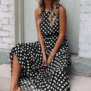 Frauen Polka Dots Kleid Ärmelloses Sommerkleid O-Ausschnitt Taille Flowy Summer Beach Kleid