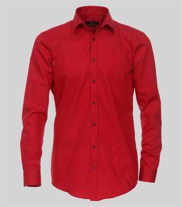 Größe 39 Venti Hemd Rot Uni Langarm Body Stretch Extra Schmal Kentkragen 100% Baumwolle Bügelfrei