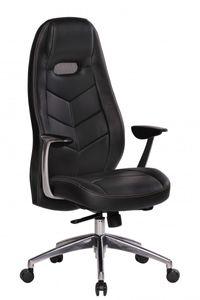 Bürostuhl BARI Echt-Leder Schwarz Schreibtischstuhl mit