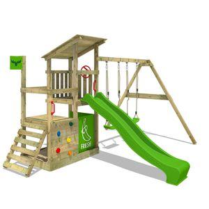 FATMOOSE Spielturm Klettergerüst FruityForest mit Schaukel & apfelgrüner Rutsche, Kletterturm mit Sandkasten, Leiter & Spiel-Zubehör