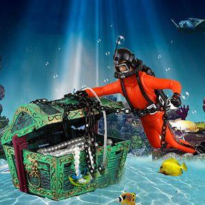 Aquarium Floating Diver Ornament Aquarium Dekoration mit beweglicher Schatztruhe Floating Diver Bubble Action