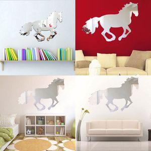 3D galoppierendes Pferd DIY Spiegel Wanduhr Wandaufkleber Home Room Decoration Art