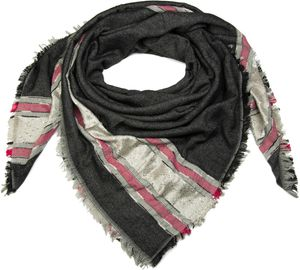 styleBREAKER XXL Viereckstuch mit Pailletten und Streifen, Fransen, Winter Schal, Tuch, Damen 01017056, Farbe:Schwarz
