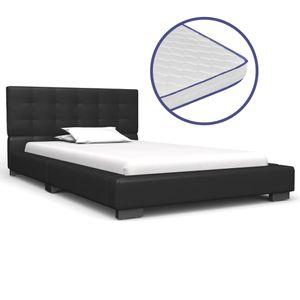 Bett mit Memoryschaum-Matratze Schwarz Kunstleder 90×200 cm