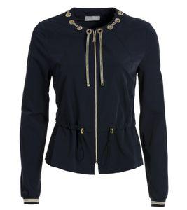 TUZZI Freizeit-Jacke stylische Damen Frühlings-Jacke mit Goldstreifen Blau, Größe:36