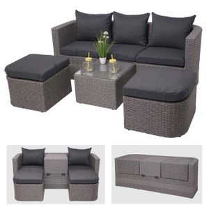3in1-Garnitur HWC-J37, Garten-/Lounge-Set Sonneninsel, Spun Poly halbrundes Poly-Rattan  grau, Kissen anthrazit