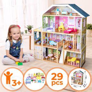 Infantastic® Puppenhaus aus Holz - XXXL, 4 Spielebenen, Spielset mit Möbeln und Zubehör, für 30 cm große Puppen - Puppenvilla, Dollhouse, Puppenstube, Kinder Spielzeug für Mädchen und Jungen