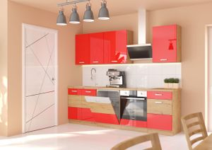Küche Eiche Artisan Rot 250 cm Küchenzeile Hochglanz Küchenblock Einbauküche