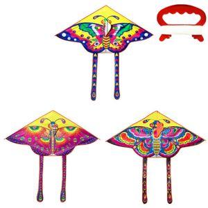 3 Stk Einleiner 3D-Drachen Kinder-Drachen Rainbow Schmetterling Flugdrachen drachenfliegen + 15m Drachenschnur