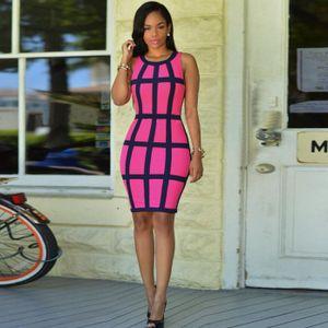 y Frauen Kleid Bandage Cocktail Ärmellose Bodycon Abend Party Kleider Größe:XL,Farbe:Pink