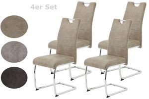 4er Set Esszimmerstuhl Flora II - Bezug Vintage beige - Metallgestell verchromt - 120kg belastbar - Lehne mit Griff