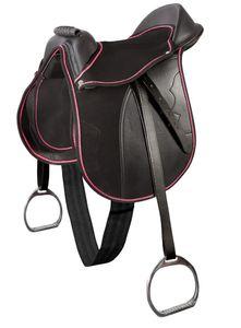 Pony-Sattel-Set 16,5 Zoll-schwarz-pink