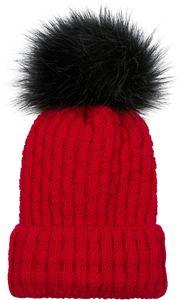 styleBREAKER Unisex warme Strick Bommelmütze mit Flecht Muster und Fleece Futter, Winter Fellbommel Mütze 04024171, Farbe:Pink