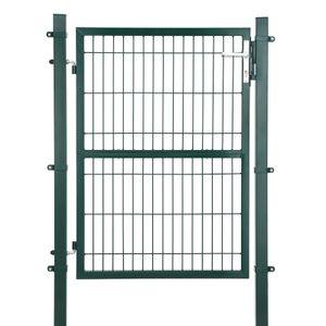 SONGMICS Gartentor aus verzinktem Stahl, 106 x 171 cm (L x H), Gartentür, Zauntor, Hoftor, mit Schloss, Türklinke und Schlüssel, grün GGD175L